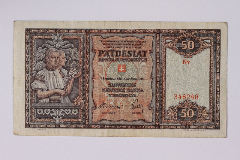 1992.221.36 front Czechoslovakia, paper currency, 50 korun note, issued during the war
