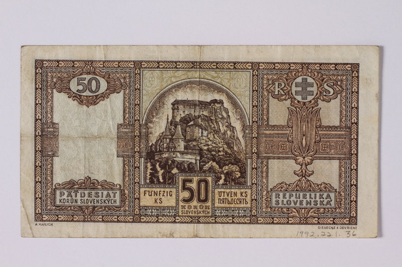 1992.221.36 back Czechoslovakia, paper currency, 50 korun note, issued during the war