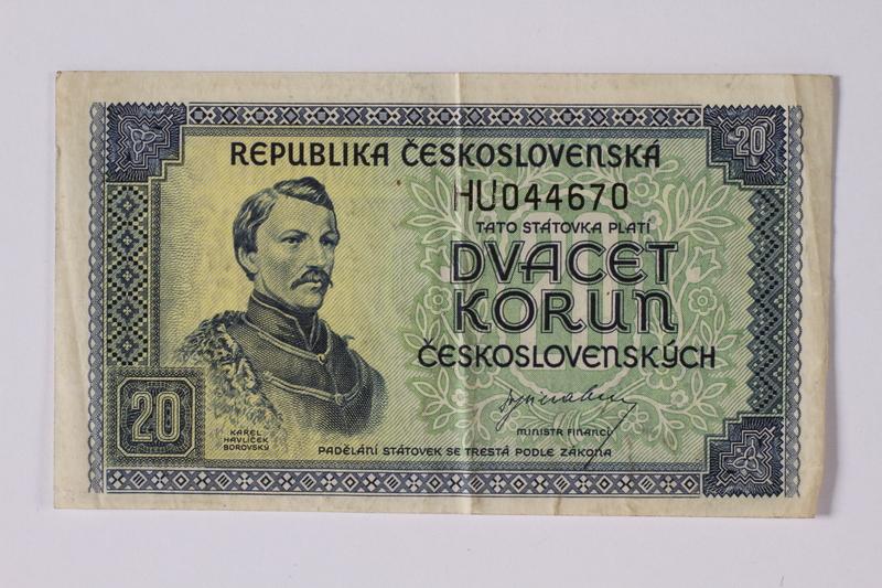 1992.221.38 front Czechoslovakia, 20 korun note