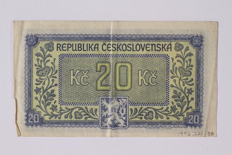 1992.221.38 back Czechoslovakia, 20 korun note
