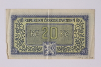 1992.221.38 back Czechoslovakia, 20 korun note  Click to enlarge