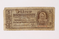1992.221.4 front Occupation currency note, 5 Karbowanez, issued by Nazi Germany in eastern Poland  Click to enlarge