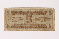 1992.221.4 back Occupation currency note, 5 Karbowanez, issued by Nazi Germany in eastern Poland  Click to enlarge