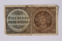 1992.221.41 front Czechoslovakia, 1 koruna note  Click to enlarge