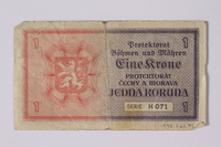 1992.221.41 back Czechoslovakia, 1 koruna note  Click to enlarge