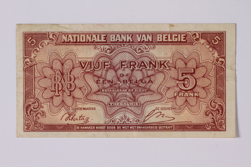 1992.221.42 front Belgian paper currency, 5 franc