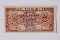 1992.221.42 front Belgian paper currency, 5 franc  Click to enlarge