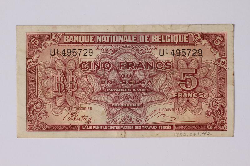 1992.221.42 back Belgian paper currency, 5 franc