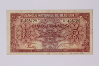 1992.221.42 back Belgian paper currency, 5 franc  Click to enlarge