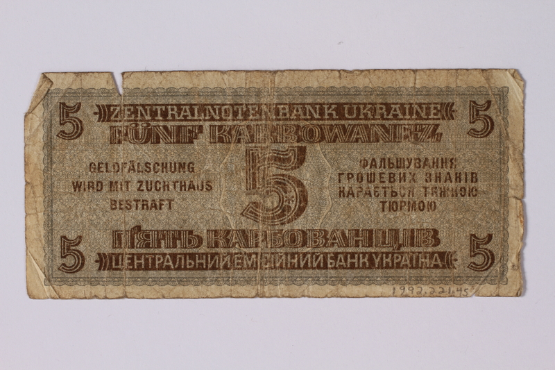 1992.221.45 back Occupation currency note, 5 Karbowanez, issued by Nazi Germany in eastern Poland