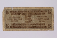 1992.221.45 back Occupation currency note, 5 Karbowanez, issued by Nazi Germany in eastern Poland  Click to enlarge