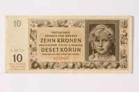 1992.221.5 front Czechoslovakia, 10 [zehn] kronen note  Click to enlarge