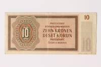 1992.221.5 back Czechoslovakia, 10 [zehn] kronen note  Click to enlarge