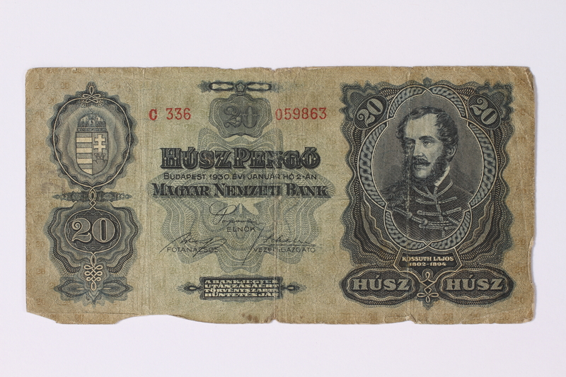 1992.221.6 front Hungary, 20 pengo note