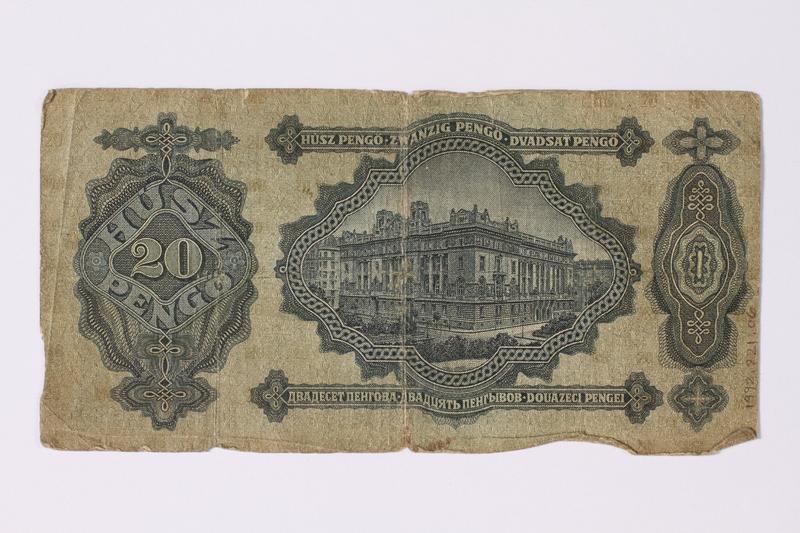 1992.221.6 back Hungary, 20 pengo note