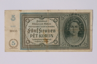 1992.221.9 front Czechoslovakia, 5 [funf] kronen note  Click to enlarge