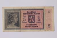 1992.221.9 back Czechoslovakia, 5 [funf] kronen note  Click to enlarge