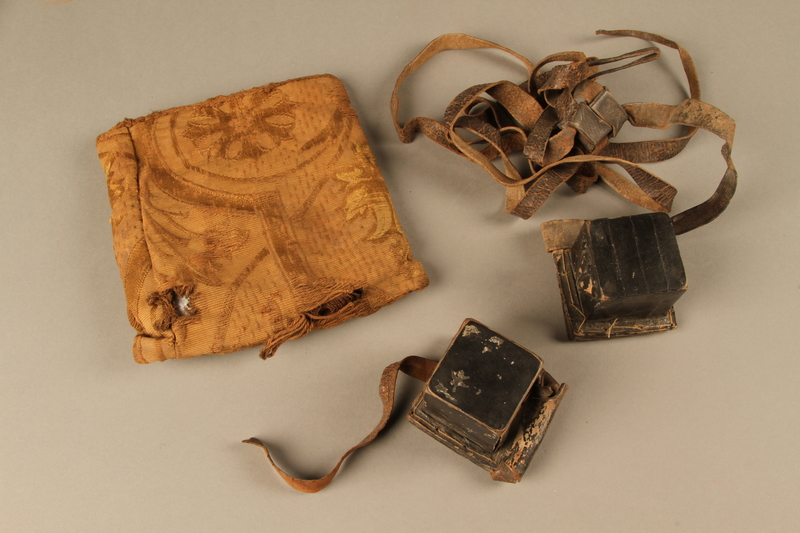 2006.516.5 a-c front Pair of Tefillin and pouch owned by a Romanian Jewish concentration camp survivor