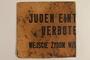 """Sign posted at rail station during Nazi occupation of Poland stating """"Jews not allowed to enter"""""""