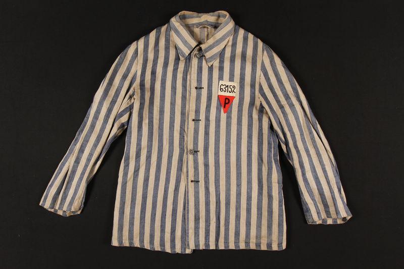1992.236.1 front Concentration camp uniform jacket worn by a prisoner