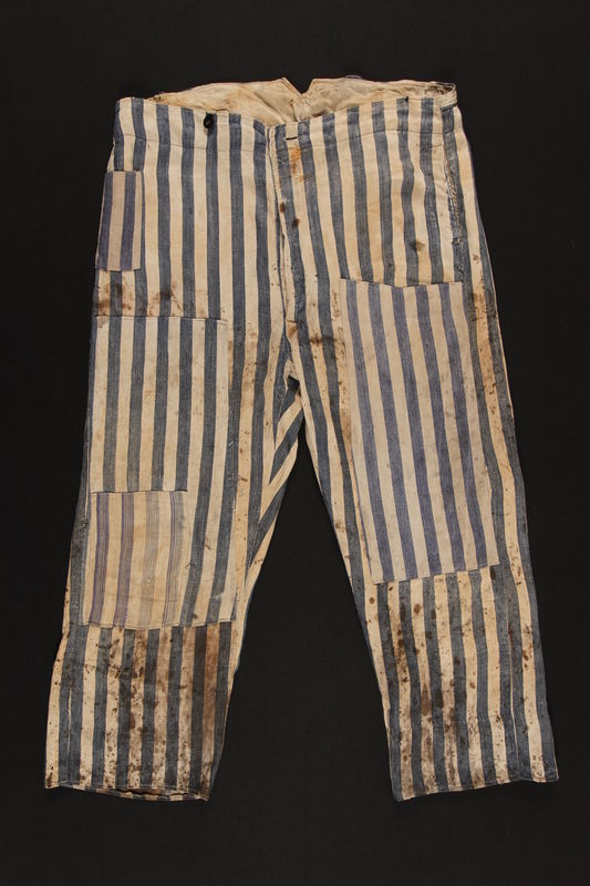 1992.236.2 front Concentration camp uniform pants worn by a prisoner