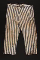 1992.236.2 back Concentration camp uniform pants worn by a prisoner  Click to enlarge