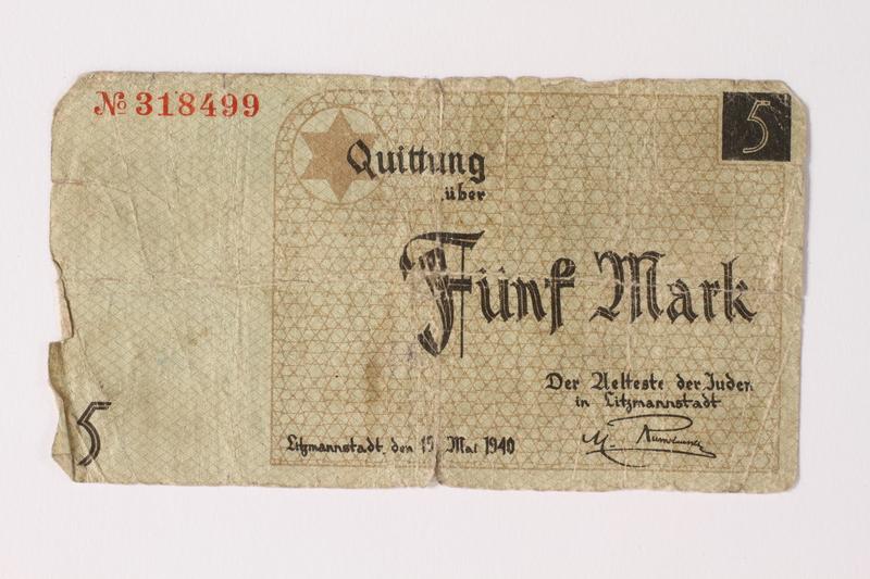 1992.26.3 front Łódź ghetto scrip, 5 mark note
