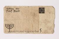 1992.26.3 back Łódź ghetto scrip, 5 mark note  Click to enlarge