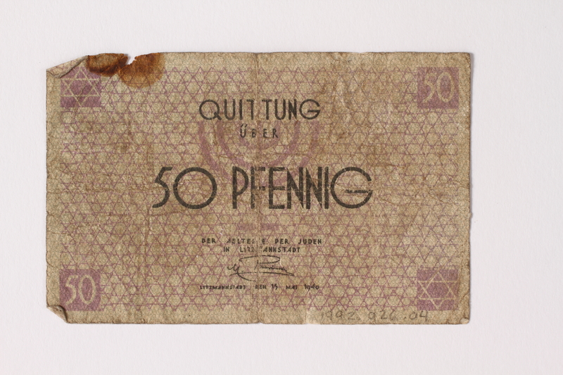 1992.26.4 front Łódź ghetto scrip, 50 pfennig note