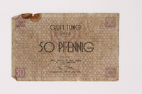 1992.26.4 front Łódź ghetto scrip, 50 pfennig note  Click to enlarge