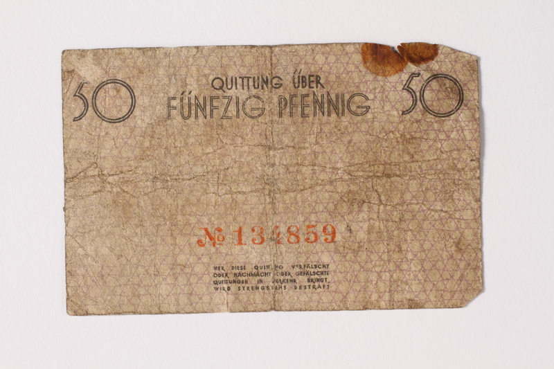 1992.26.4 back Łódź ghetto scrip, 50 pfennig note