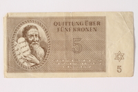 1992.26.5 front Theresienstadt ghetto-labor camp scrip, 50 kronen note  Click to enlarge