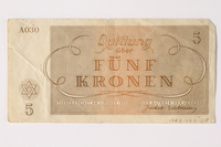 1992.26.5 back Theresienstadt ghetto-labor camp scrip, 50 kronen note  Click to enlarge