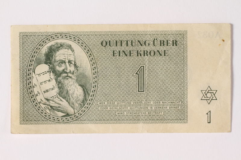 1992.26.6 front Theresienstadt ghetto-labor camp scrip, 1 krone note