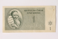 1992.26.6 front Theresienstadt ghetto-labor camp scrip, 1 krone note  Click to enlarge