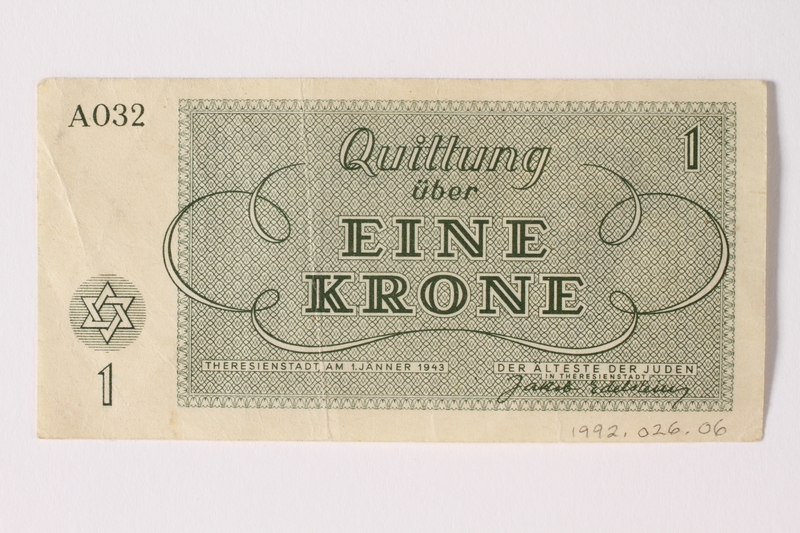 1992.26.6 back Theresienstadt ghetto-labor camp scrip, 1 krone note
