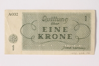 1992.26.6 back Theresienstadt ghetto-labor camp scrip, 1 krone note  Click to enlarge