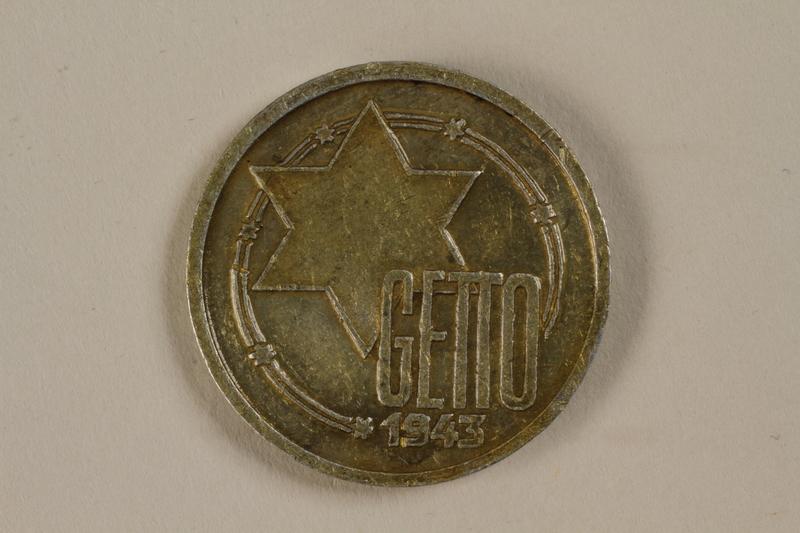 1992.26.9 front Łódź (Litzmannstadt) ghetto scrip, 10 mark coin