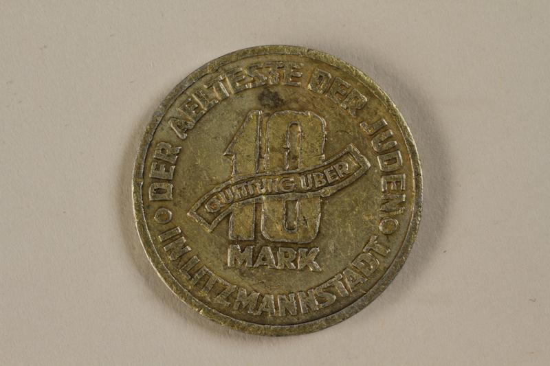 1992.26.9 back Łódź (Litzmannstadt) ghetto scrip, 10 mark coin