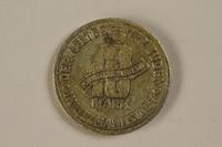 1992.26.9 back Łódź (Litzmannstadt) ghetto scrip, 10 mark coin  Click to enlarge