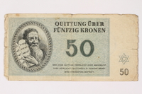 1992.27.1 front Theresienstadt ghetto-labor camp scrip, 50 kronen note  Click to enlarge