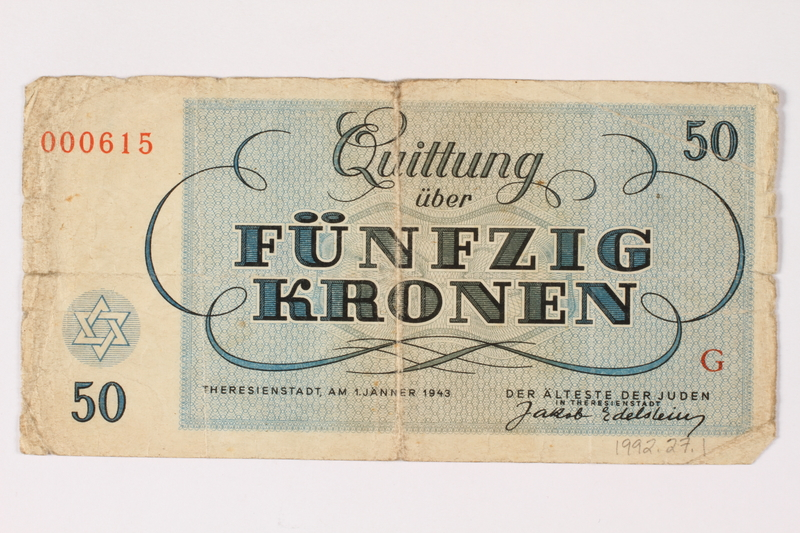 1992.27.1 back Theresienstadt ghetto-labor camp scrip, 50 kronen note