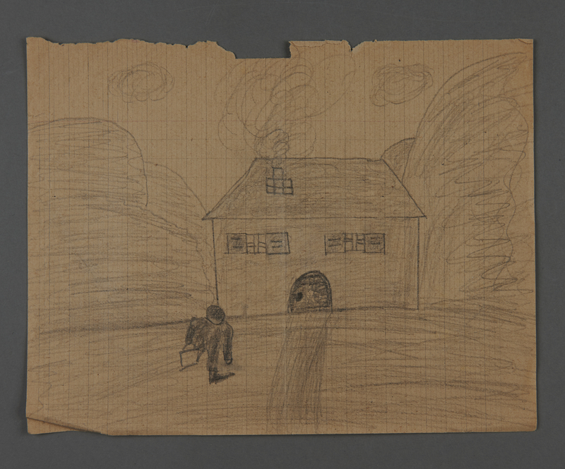 2002.420.29 front Double-sided pencil drawing of a train and a house
