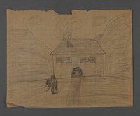 2002.420.29 front Double-sided pencil drawing of a train and a house  Click to enlarge