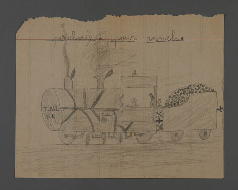 2002.420.30 front Double-sided pencil drawing of a train and a house