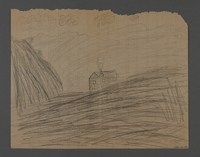 2002.420.30 back Double-sided pencil drawing of a train and a house  Click to enlarge