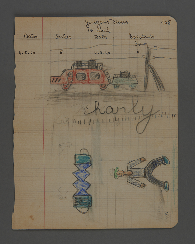 2002.420.31 front Drawing of a man, an accordion, and a car with trailer