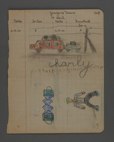 2002.420.31 front Drawing of a man, an accordion, and a car with trailer  Click to enlarge