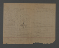 2002.420.32 back Double-sided drawing of a house and an airplane  Click to enlarge