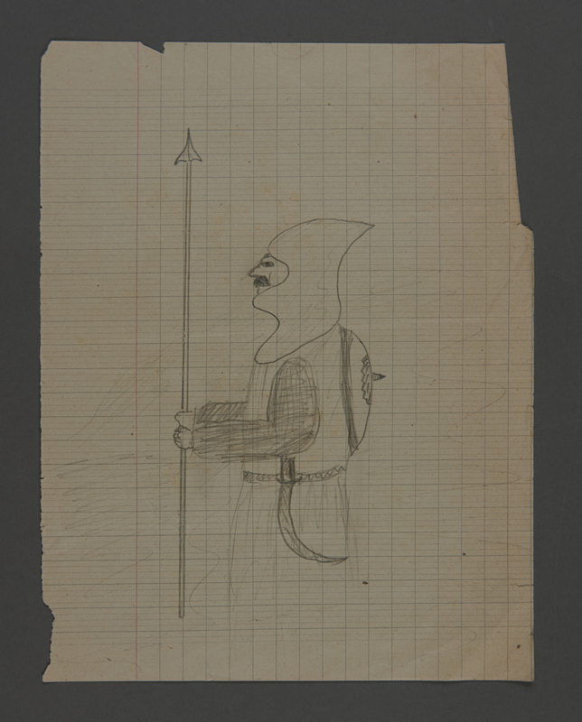 2002.420.34 front Pencil drawing depicting a knight